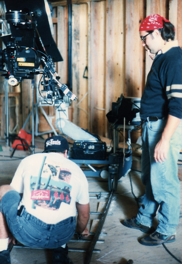 Leveling out the dolly track before a shot
